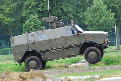 The Dingo during a demonstration of its strengths on different terrain.