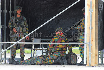 Soldiers of the Belgian Army during a MOUT Training (Military Operations in Urban Terrain) taking care of a wounded mate.