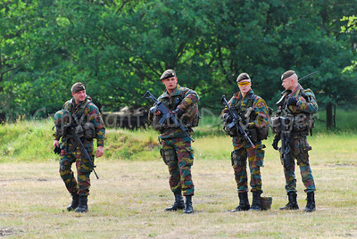 Belgian Infantry soldiers in the fields.