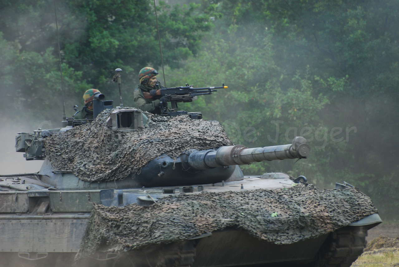 A Leopard 1A5 battle tank in use with the Belgian army.