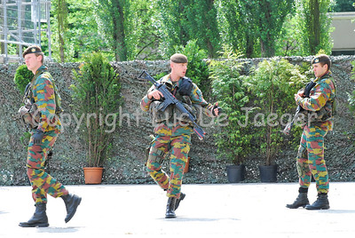 Belgian soldiers of an infantry company of the Regiment Carabiniers Grenadiers.