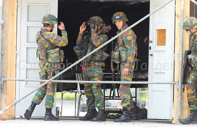 Soldiers of the Belgian Army after a MOUT Training (Military Operations in Urban Terrain). The house is cleared.