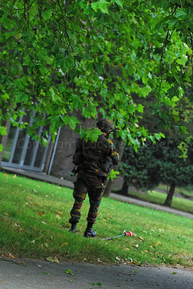 An infantry soldier of the Belgian Army in training.