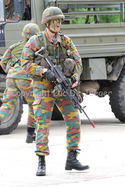 An infantry soldier of the Belgian army during a training session.