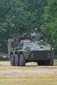 A Pandur Recce Vehicle in use by the Belgian Army operating in the fields.