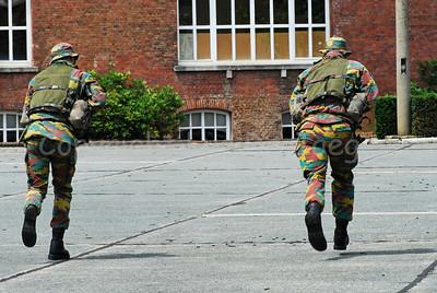 Belgian Paratroopers running.