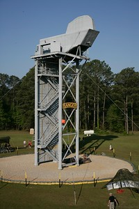 The largest of the tri-towers features a wall climb on its backside and simulated helicopter exits for rappel training.