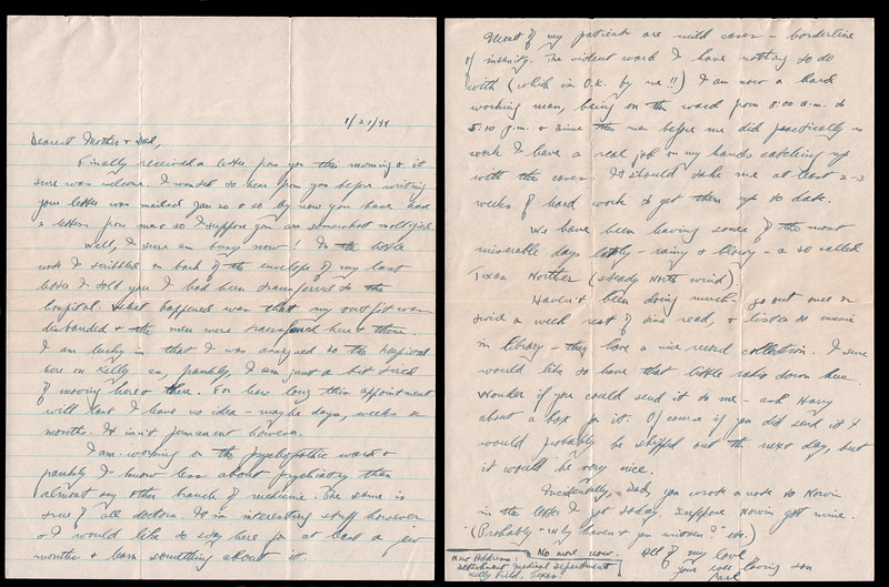 Letter from Carl Rothschild, written during his time in service in the US Army Air Corps during World War II<br /> <br /> At the time of this letter, he was stationed at the 94th Depot Repair Squadron Kelly Field, Texas, prior to deployment to China