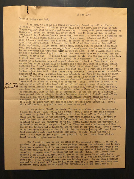 Letter from Carl Rothschild, written during his time in service in the US Army Air Corps in China during World War II.  <br /> <br /> Page 1 of 2