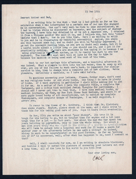 Letter from Carl Rothschild, written during his time in service in China while serving in the US Army Air Corps during World War II