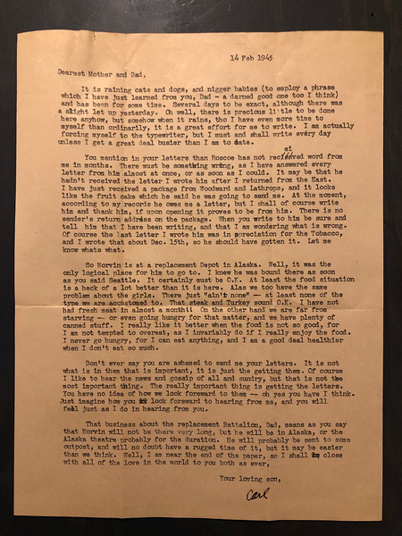 Letter from Carl Rothschild, written during his time in service in the US Army Air Corps in China during World War II.