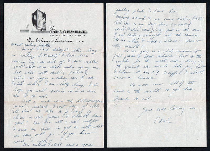 Letter from Carl Rothschild, written during his time in service in the US Army Air Corps during World War II<br /> <br /> At the time of this letter, he was stationed at the 12th Service Group, Station Hospital, Air Depot Training Station, Albuquerque, New Mexico, prior to deployment to China