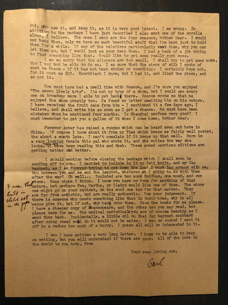Letter from Carl Rothschild, written during his time in service in the US Army Air Corps in China during World War II.  <br /> <br /> Page 2 of 2
