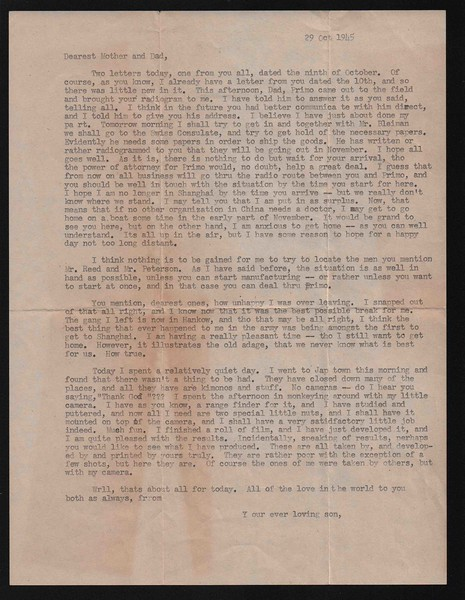 Letter from Carl Rothschild, written during his time in service in the US Army Air Corps in China during and after World War II.