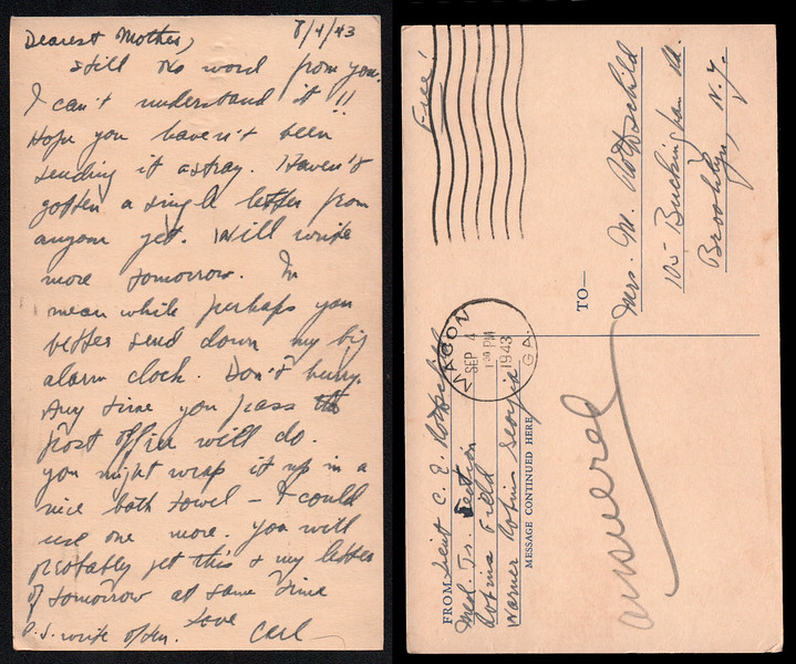 Letter from Carl Rothschild, written during his time in service in the US Army Air Corps during World War II<br /> <br /> At the time of this letter, he was stationed at Robbins Field, Warner Robbins, Georgia prior to deployment to China