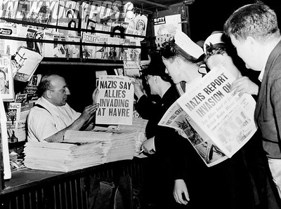 This NYC newsstand provides much sought out for information about World War II. 1944