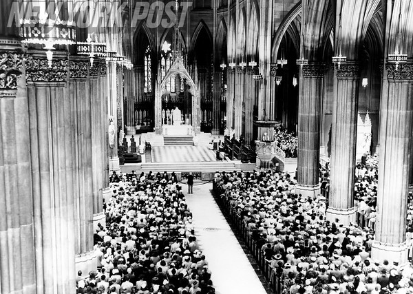 A crowded St. Patrick's Cathedral mass celebrating V-J Day. 1945
