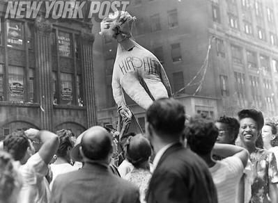 NYC residents celebrate V-J Day August 14, 1945