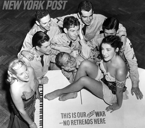 Servicemen Gazing at Beautiful Women Around Piano at Hotel Roosevelt. 1952