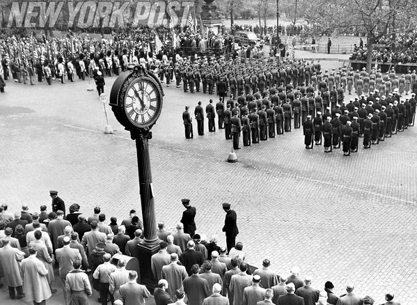 Taps is sounded at Eternal Light in Madison Square. 1952