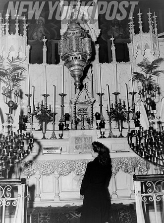 V-E Day Prayers for safe return from WW2 and of thanks at St. George Catholic Church, NYC. 1945