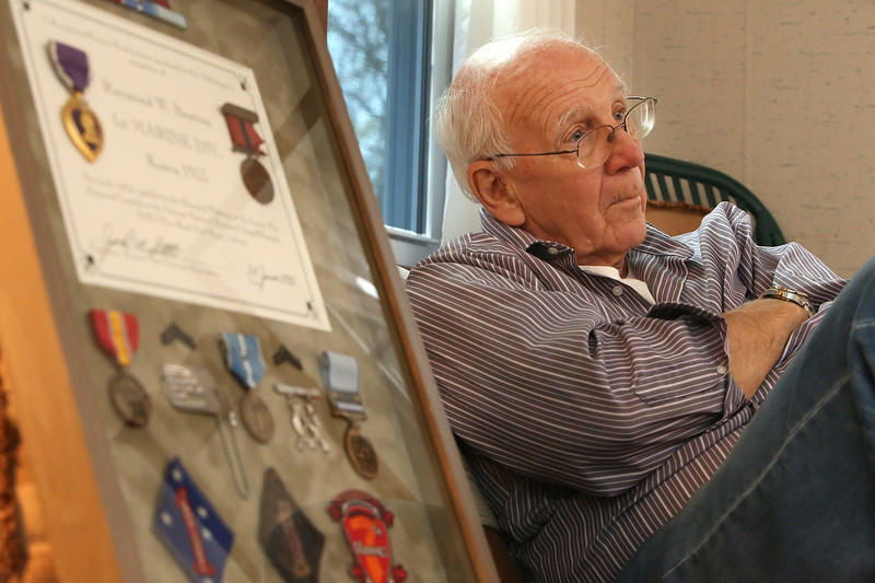 Korean War veteran and retired Marine Ray Bratton of Chelmsford, who did a draft design and advocated for a Korean War memorial, to be unveiled at the Veteran's Day ceremony at Chelmsford Veterans Memorial Park. (SUN/Julia Malakie)