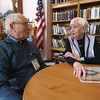 Al Sidel, 92, of Chelmsford, with Veronica Doherty, 85, also of Chelmsford, who has on a volunteer basis been writing down life stories of the Greatest Generation and creating booklets for them and their families. (SUN/Julia Malakie)