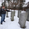 Mike Kendrick, chair of the Chelmsford Veterans Memorial Park Committee, in the approximate location where the committee hopes to add two additional stones once they have enough veterans' names, and financial support. (SUN Julia Malakie)