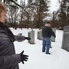 Debbie and Mike Kendrick, members of the Chelmsford Veterans Memorial Park Committee, show approximately where the committee is seeking to add two additional stones once they have enough veterans' names, and financial support. (SUN Julia Malakie)