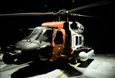 Coast Guard Jayhawk helicopter in the hanger in Air Station Elizabeth City, NC, during Hurricane Fran.