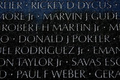 The Vietnam Veterans Memorial Wall - Washington, DC - May 14, 2015 - Donald John Porter - Panel 23W - Line 46