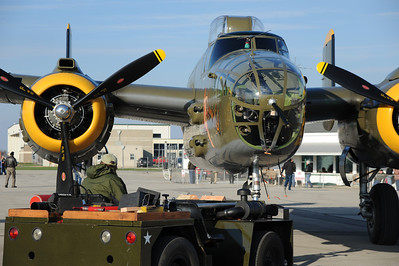 Georgie's Gal being towed to her assigned spot. Five B-25 made it - one broke down in Kentucky, and it was expensive!