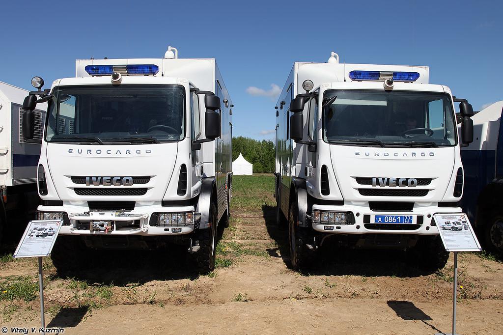 Специальный автомобиль технической поддержки проведения специальных операций АТПСО Каркас и передвижной комплекс по поиску и обезвреживанию взрывоопасных объектов АПОВП Балкон (ATPSO Karkas special operations support vehicle and APOVP Balkon EOD vehicle)