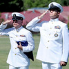 "Master Chief, Bob Wheeler, left, and Aaron Starks, both of the Navy, salute the flags  during the Dedication of Service Flags at Roosevelt Park in Longmont on Saturday.<br /> For more photos and a video, go to  <a href=""http://www.timescall.com"">http://www.timescall.com</a> or   <a href=""http://www.dailycamera.com"">http://www.dailycamera.com</a>.<br /> Cliff Grassmick / June 9, 2012"