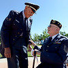 "Air Force vet, Lester Huston, left, greets WWII veteran, Rex Carnes, during the Dedication of Service Flags at Roosevelt Park in Longmont on Saturday.<br /> For more photos and a video, go to  <a href=""http://www.timescall.com"">http://www.timescall.com</a> or   <a href=""http://www.dailycamera.com"">http://www.dailycamera.com</a>.<br /> Cliff Grassmick / June 9, 2012"