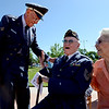 "Air Force vet, Lester Huston, left, jokes with WWII vet, Rex Carnes, during the Dedication of Service Flags at Roosevelt Park in Longmont on Saturday.<br /> For more photos and a video, go to  <a href=""http://www.timescall.com"">http://www.timescall.com</a> or   <a href=""http://www.dailycamera.com"">http://www.dailycamera.com</a>.<br /> Cliff Grassmick / June 9, 2012"