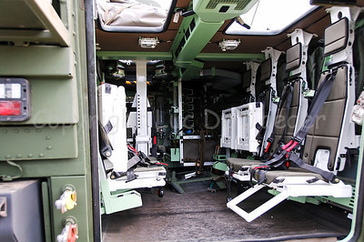The interior of the brand new Piranha IIIC, manufactured by the Swiss MOWAG,