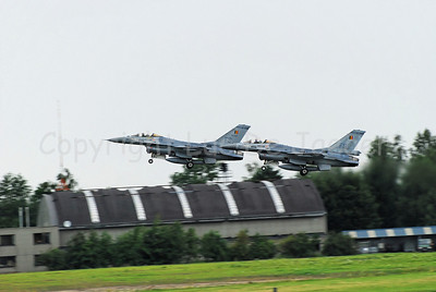 Two F16s of the Belgian Army taking off from the Air Force Base in Florennes, Belgium.