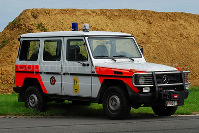 A Mercedes G car used by the Belgian Service of dismantling and destruction of explosives (the Explosive Ordnance Disposal or DOVO).