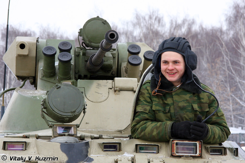 Механик-водитель БТР-80А из состава ОДОН (Internal troops Detached Dzerzhinsky division (ODON) private inside BTR-80A)