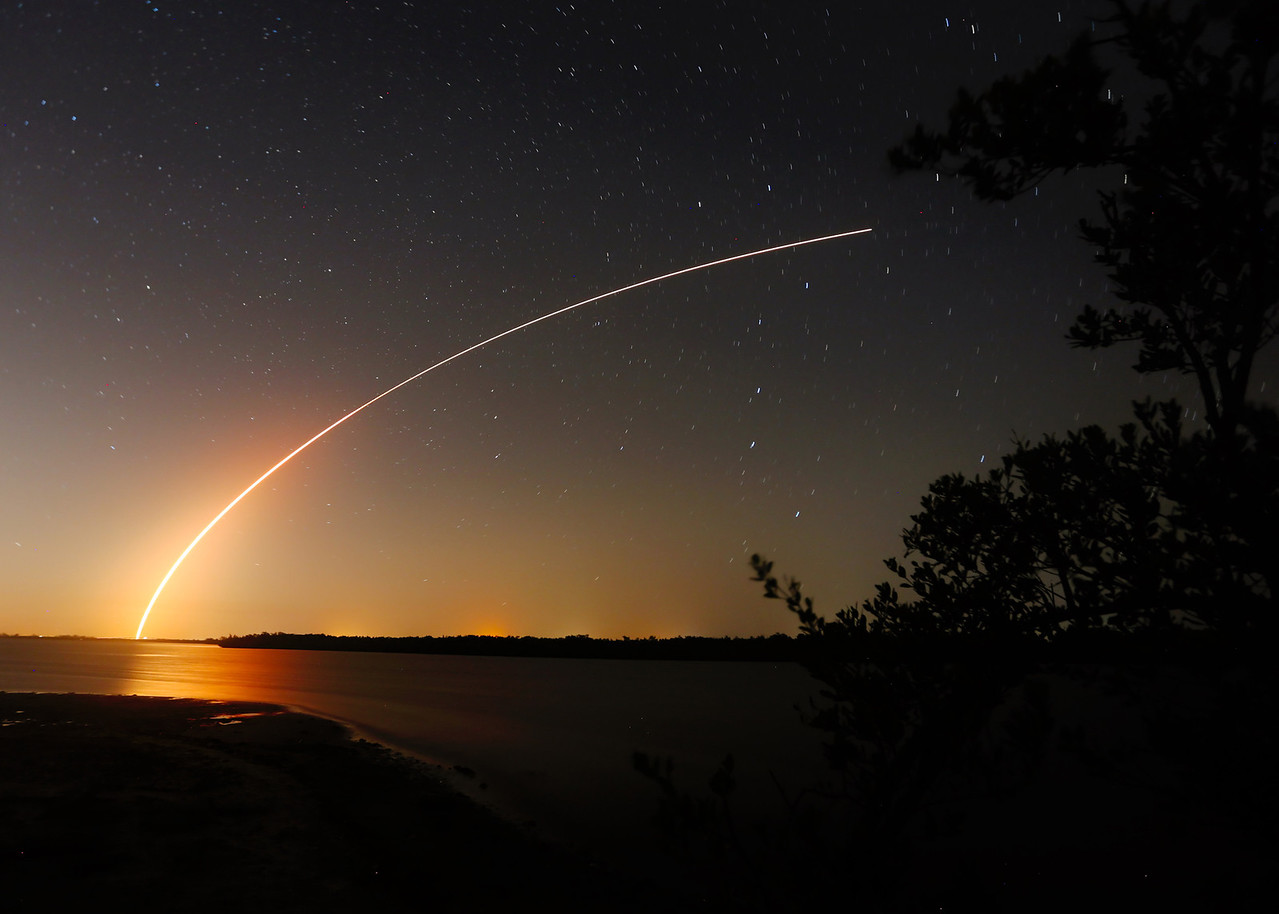A United Launch Alliance Delta 4 rocket lifts off from Cape Canaveral at 859 Thursday eveningas seen from