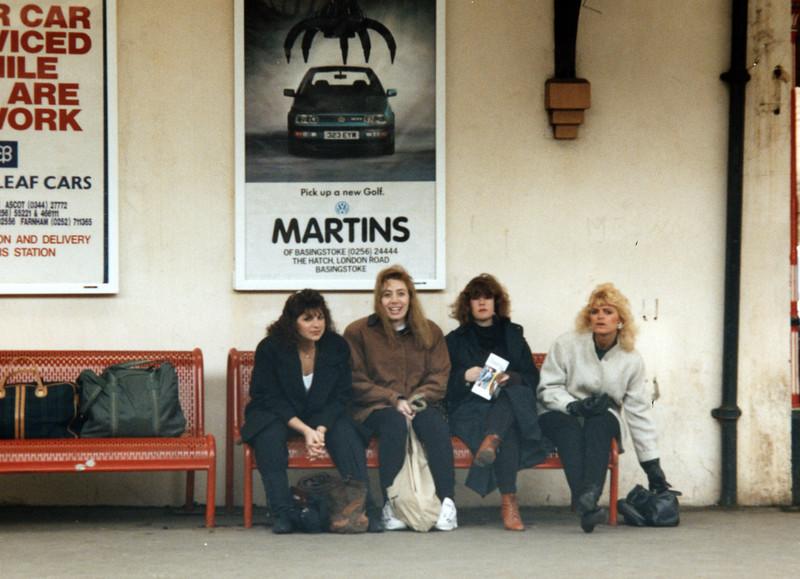 943rd CAMS Girls in Basingstoke UK train station going to London
