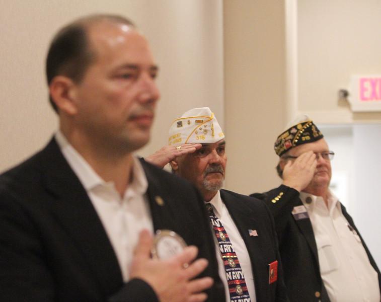Dracut Rotary holds its second annual Veterans Appreciation Luncheon, at Lenzi's. From left, Rotary member Al Daigle, Jr., of Dracut, Navy veteran Bob Desrosiers of Lowell, and Army veteran John Dyer of Dracut. (SUN/Julia Malakie)