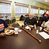 Dracut Council on Aging holds monthly Veterans Breakfast at the Dracut Senior Center, for veterans, their families, and those interested in veterans' affairs. From left, Normand Bilodeau, Roger Marchand, Sr., and Ray McNulty, all of Dracut. (SUN/Julia Malakie)