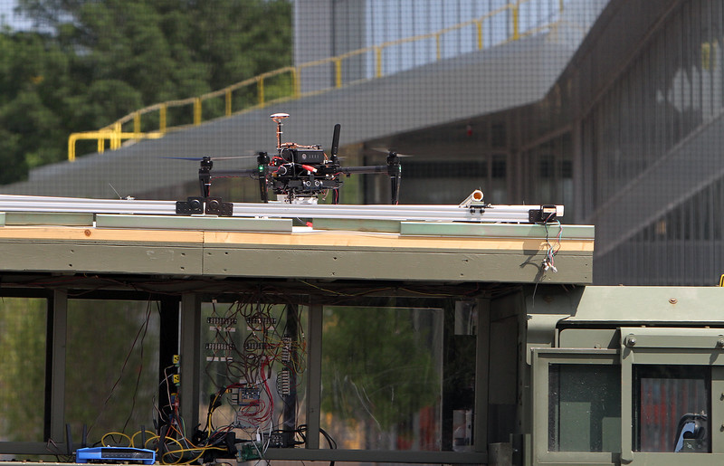 Demonstrations with drones at Air Force UAS Pitch Day, at Northeastern University's Innovation Campus.  (SUN/Julia Malakie)