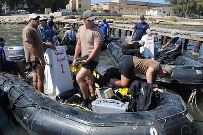 091011-N-0260R-027 - ALEXANDRIA, Egypt - Sailors from the Egyptian Navy Frogman Units, along with U.S. Navy Explosive Ordinance Disposal personnel, prepare to get underway for a training evolution during Exercise Bright Star 2009.  The training was conducted as part of Bright Star 2009. Bright Star is a multinational exercise designed to improve readiness, interoperability, strengthen the military and professional relationships among U.S., Egyptian and participating forces. Bright Star is conducted by U.S. Central Command and held every two years. (U.S. Navy photo by Mass Communication Specialist 1st Brandon Raile/Released)