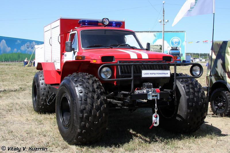Снегоболотоход предназначенный для тушения пожаров в труднодоступных местах МАРШ-ПОЖАРНЫЙ (Fire fighting all-terrain vehicle MARSH-POZHARNIY)