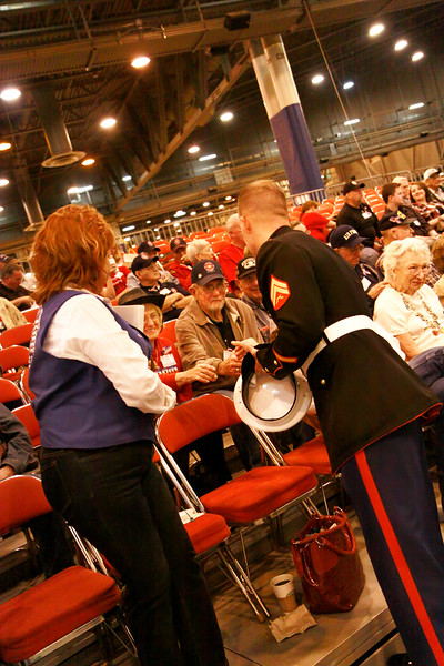 Wounded Warriors greeted by WWII veterans