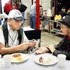 Monthly veteran breakfast provided by Vernon's Kuntry Katfish. WWII veteran George Waters, and military supporter Lilija Grumulaitis