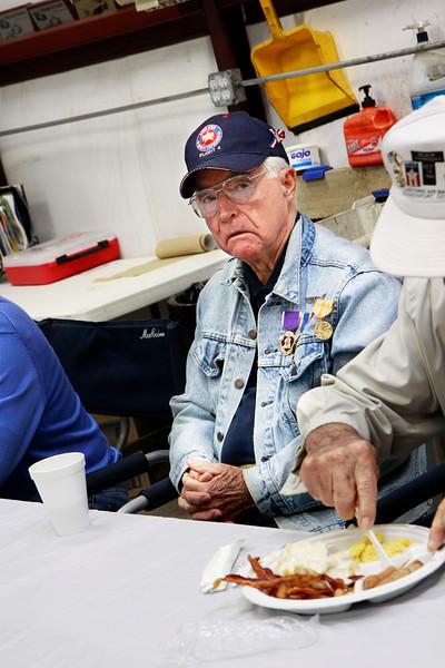 Monthly veteran breakfast provided by Vernon's Kuntry Katfish. WWII veteran James Brown.